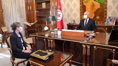 صورة قيس سعيد يستقبل رئيسة الحكومة بقصر قرطاج